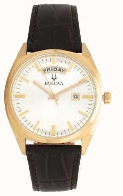 Bulova Mens klassieke gouden toon met leren riem 97C106