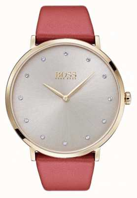 Hugo Boss Womans jillian goudkleurige vergulde tan leer 1502411