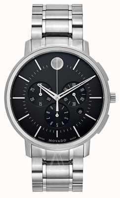 Movado Mens dunne klassieke chronograaf zwart 0606886