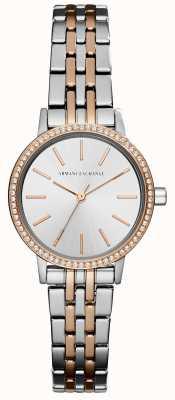 Armani Exchange Womans twee toon roestvrij stalen armband AX5542