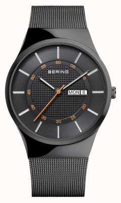 Bering Heren klassieke multifunctionele zwarte mesh armband 12939-222