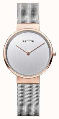 Bering Womans klassieke zilveren milanese riem roze gouden hoesje 14531-060