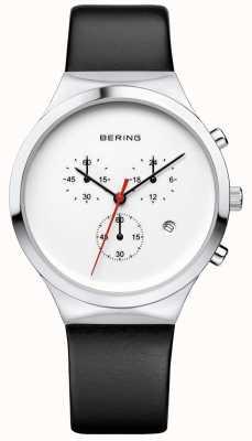 Bering Mens klassieke witte chronograaf zwarte leren riem 14736-404