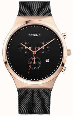 Bering Heren klassieke zwarte chronograaf zwarte milanese band 14740-166