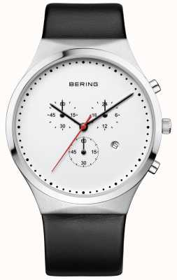 Bering Mens klassieke witte chronograaf zwarte leren riem 14740-404