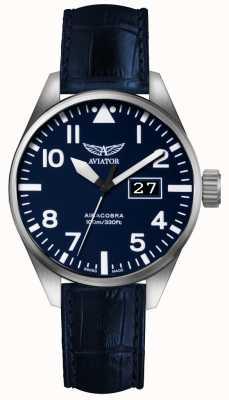 Aviator Mens airacobra p42 blauw lederen riem blauwe wijzerplaat V.1.22.0.149.4