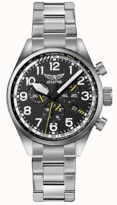 Aviator Mens airacobra p45 chrono roestvrijstalen armband zwart dia V.2.25.0.169.5