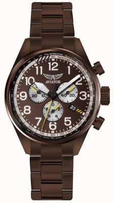 Aviator Mens airacobra p45 chrono brons pvd armband bruine wijzerplaat V.2.25.8.172.5