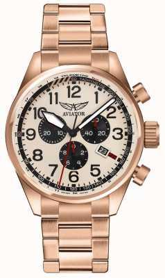 Aviator Mens airacobra p45 chrono roos vergulde room dial V.2.25.2.173.5