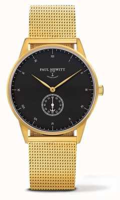 Paul Hewitt Uniek horloge met handtekening | gouden roestvrijstalen gaasarmband PH-M1-G-B-4M