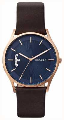 Skagen Mannen bruin leder blauw wijzerplaat detail horloge SKW6395