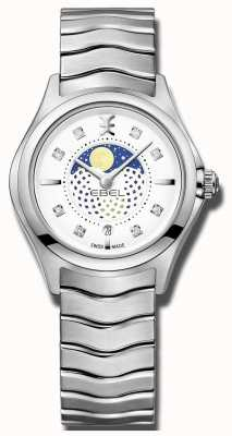 EBEL Womens wave diamond set moonphase roestvrij stalen horloge 1216372