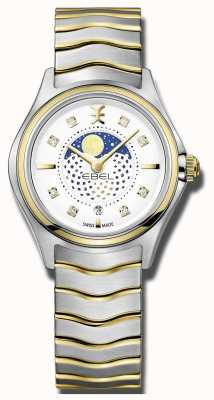 EBEL Womens wave diamond set tweekleurige moonphase horloge 1216373