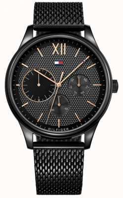 Tommy Hilfiger Damon zwart herenhorloge van ip mesh 1791420