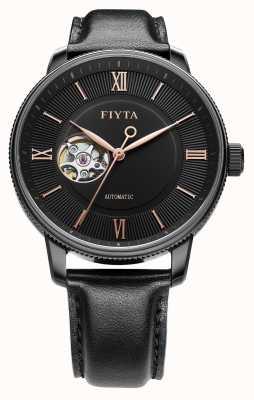 FIYTA Mens fotograaf zwart lederen auto horloge GA860013.BBB