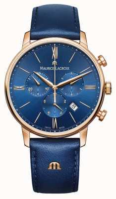 Maurice Lacroix Eliros chronograaf blauw en goud horloge EL1098-PVP01-411-1