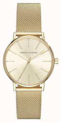 Armani Exchange Dames verguld mesh armband horloge AX5536