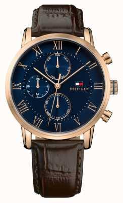 Tommy Hilfiger Kane chronograaf blauwe wijzerplaat bruine lederen band 1791399