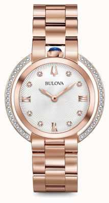 Bulova Womans rubaiyat rose gouden toon diamant horloge 98R248
