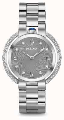 Bulova Womans rubaiyat zilveren toon diamant horloge 96R219