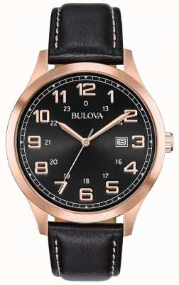 Bulova Herenkleding horloge zwart leren roos gouden tooncase 97B164