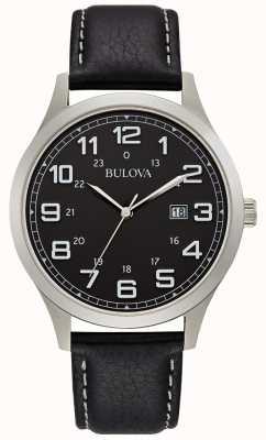 Bulova Herenkleding horloge zwart lederen stalen behuizing 96B276