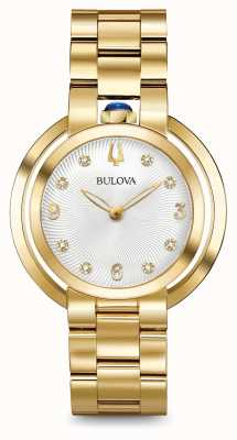 Bulova Womans rubaiyat gouden toon diamant horloge 97P125