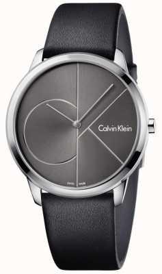 Calvin Klein Unisex minimaal horloge zwart leren riem K3M211C3