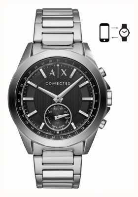 Armani Exchange Mens hybride smartwatch roestvrijstalen armband zwarte wijzerplaat AXT1006