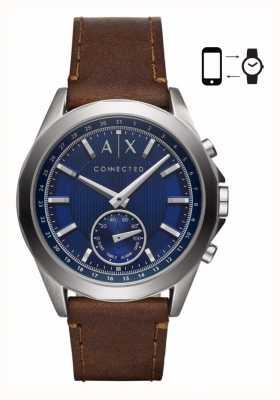 Armani Exchange Mens hybride smartwatch bruine lederen riem blauwe wijzerplaat AXT1010