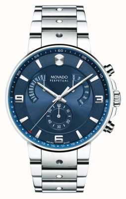 Movado Mens zie pilot retrograde horloge blauwe wijzerplaat 0607129