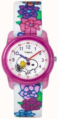 Timex Jeugd analoog witte band snoopy bloemen TW2R41700JE