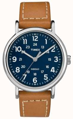 Timex Heren weekender tan lederen band blauwe wijzerplaat TW2R42500D7PF