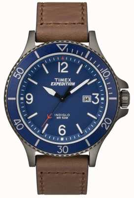 Timex Expeditie ranger bruine lederen riem blauwe wijzerplaat TW4B10700