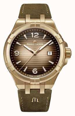 Maurice Lacroix Aikon bronzen mens vintage lederen horloge AI1028-BRZ01-720-1