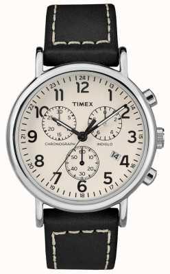 Timex Herenweeklus chronograaf zwart lederen riem TW2R42800D7PF