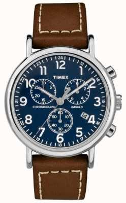 Timex Heren weekender chronograaf bruine lederen riem TW2R42600D7