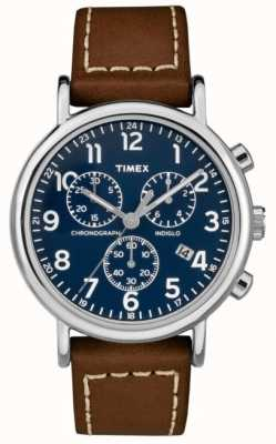 Timex Heren weekender chronograaf bruin lederen band TW2R42600D7