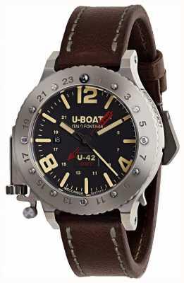 U-Boat Gelimiteerde editie u-42 gmt 50 mm bruine lederen band 8095