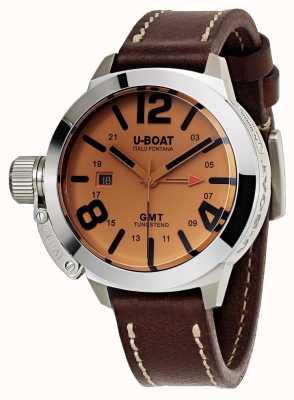U-Boat Classico 45 gmt be lederen horloge automatisch bruin leer 8051