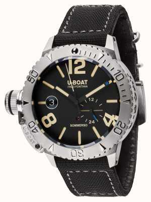 U-Boat Sommerso 46 bk automatische zwarte kalfs gevoerde rubberen band 9007
