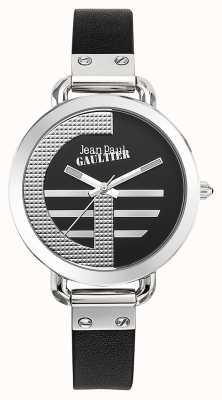 Jean Paul Gaultier Zwarte wijzerplaat met zwarte lederen band voor dames JP8504315