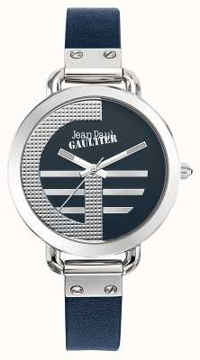 Jean Paul Gaultier Dames index g blauw lederen band blauwe wijzerplaat JP8504324