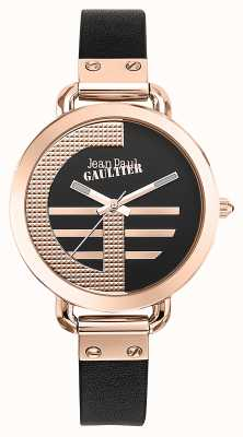 Jean Paul Gaultier Dames index g bruin lederen band zwarte wijzerplaat JP8504325