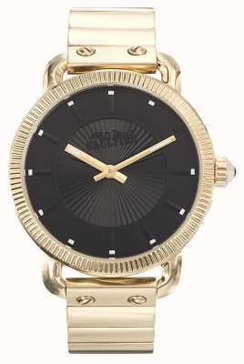 Jean Paul Gaultier Mens index gouden pvd armband zwarte wijzerplaat JP8504403