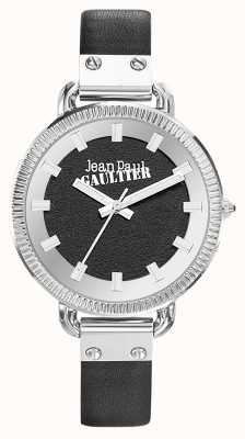 Jean Paul Gaultier Zwarte wijzerplaat met zwarte lederen band voor dames JP8504312