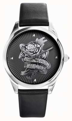 Jean Paul Gaultier Navy tatoo zwarte lederen band zwarte wijzerplaat JP8502412