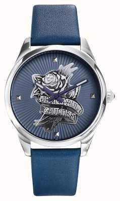Jean Paul Gaultier Navy tatoo blauwe lederen band blauwe wijzerplaat JP8502413