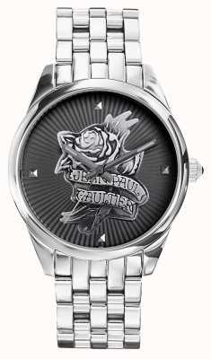 Jean Paul Gaultier Navy tatoo roestvrij stalen armband zwarte wijzerplaat JP8502407
