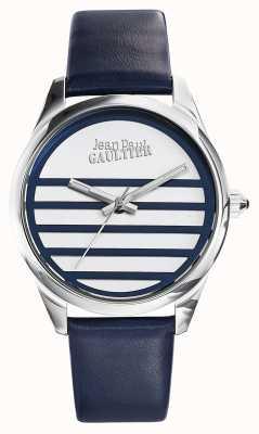 Jean Paul Gaultier Navy Blauw lederen riem witte wijzerplaat JP8502409